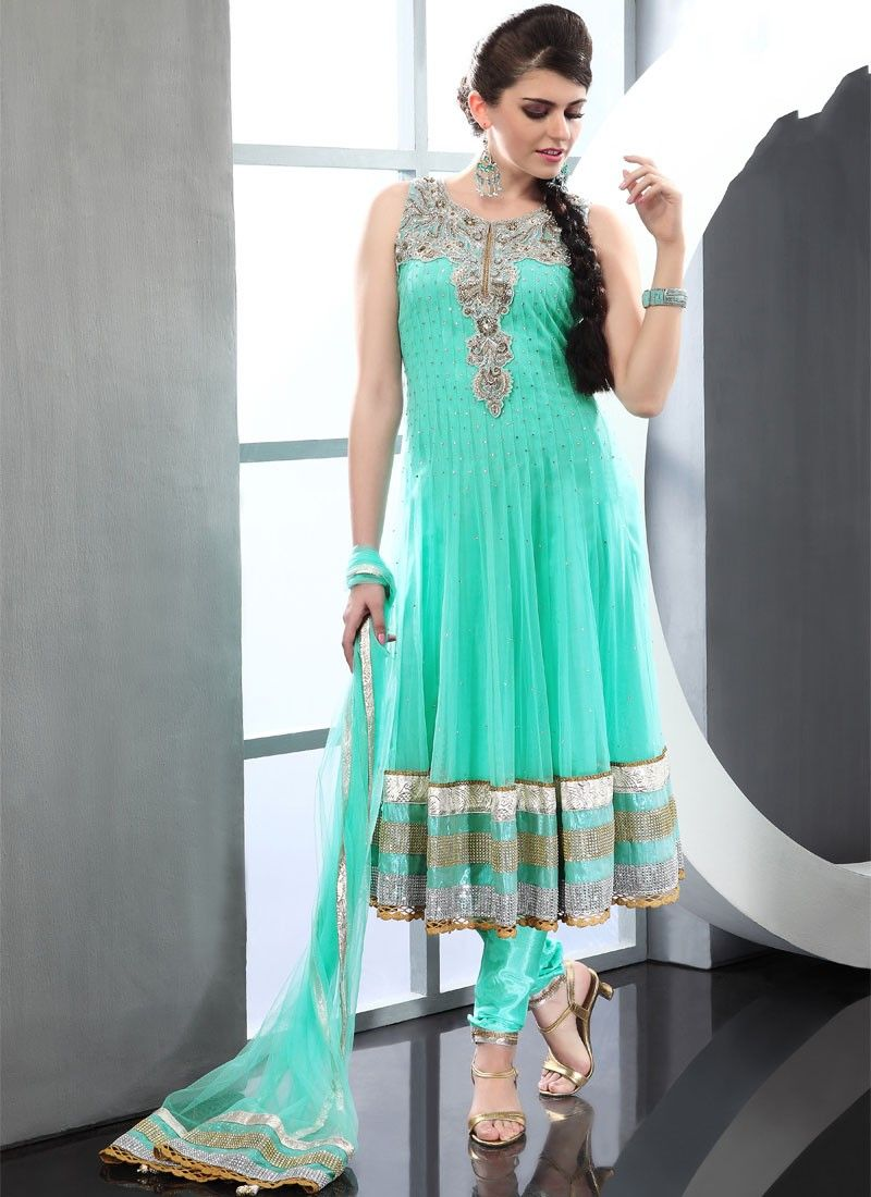 Sea Green Net Anarkali Suit