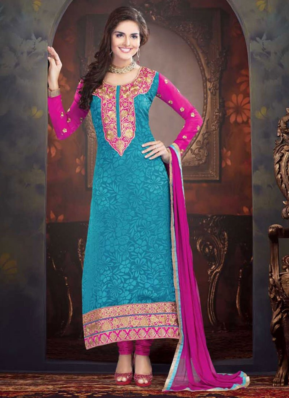 Teal Shaded Embroidered Work Churidar Suit