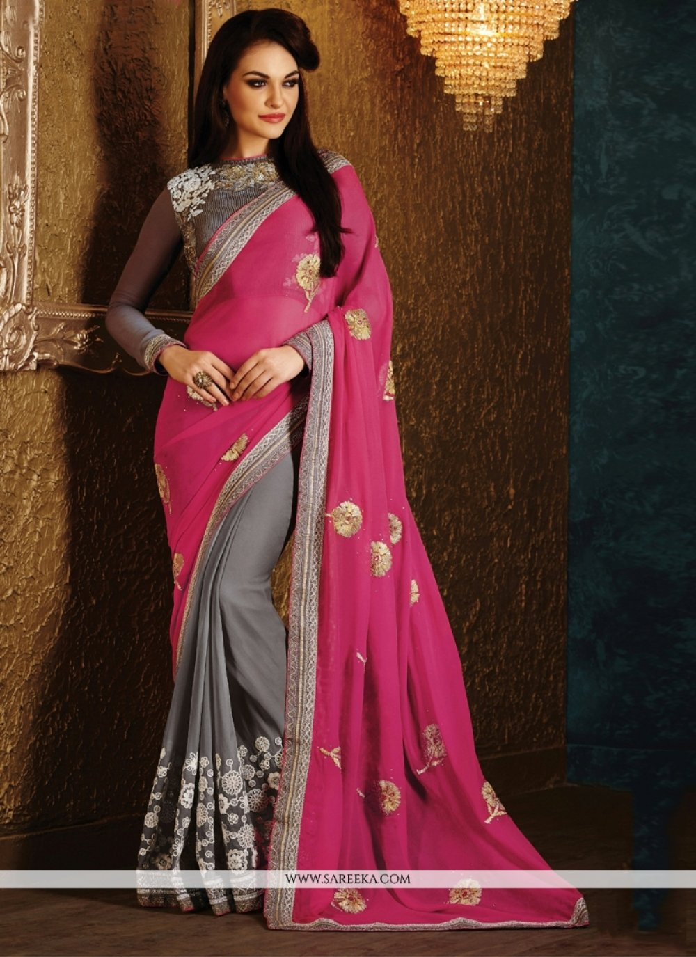 Viscose Grey and Hot Pink Half N Half Designer Saree