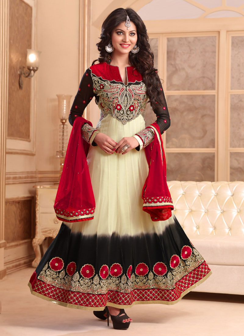 5e056cf87978 White And Red Embroidery Net AnarkalI Suit -