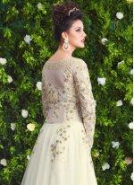 White Net Floor Length Anarkali Salwar Suit