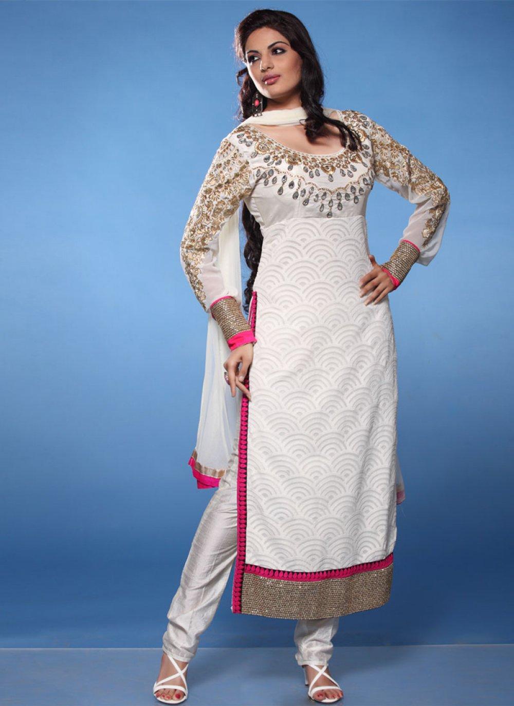White Zari Work Georgette Churidar Suit