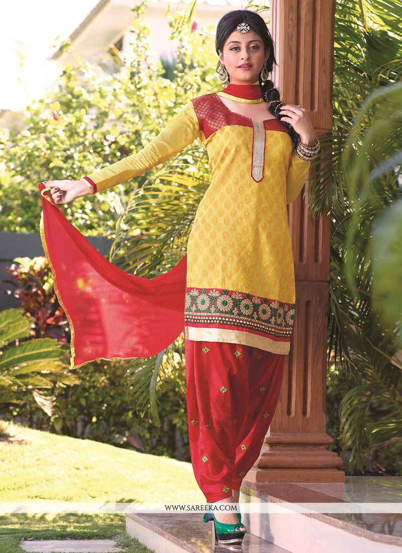 Yellow And Red Banarasi Jacquard Punjabi Suit