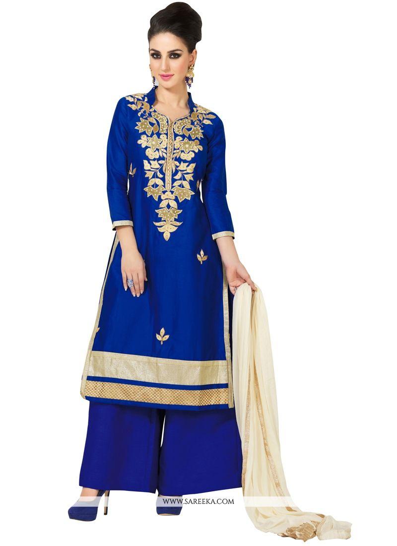 Blue Cotton Satin Designer Palazzo Salwar Kameez