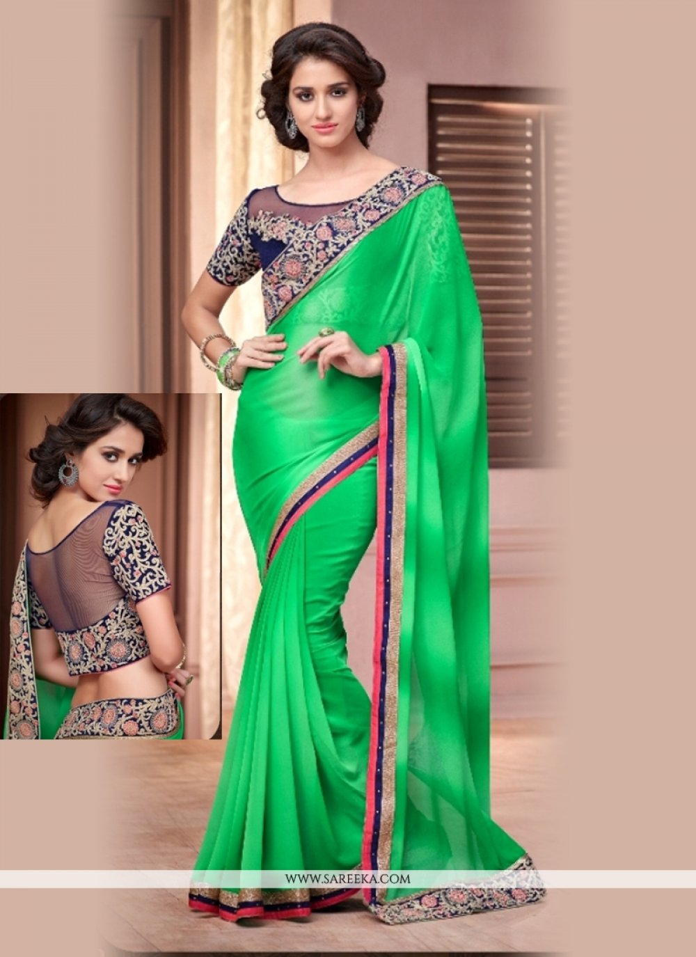 Georgette Green Embroidered Work Casual Saree
