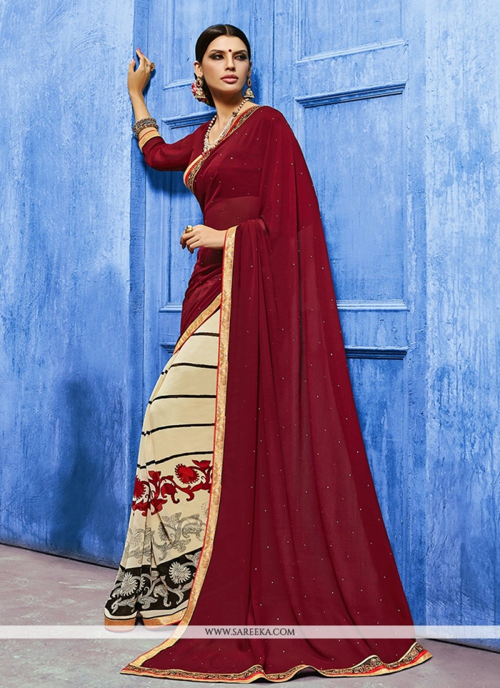 Lace Work Maroon Weight Less Designer Saree