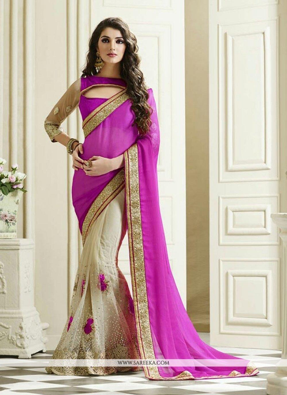 Purple Embroidered Work Chiffon Satin Designer Saree