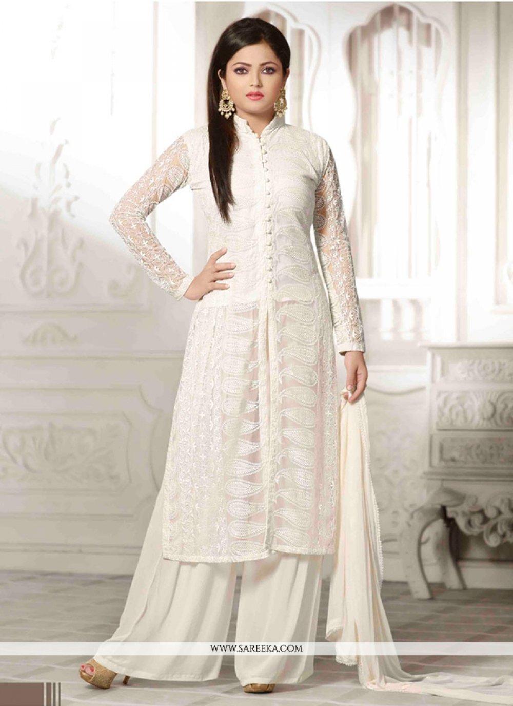 Resham Work White Net Designer Palazzo Salwar Kameez