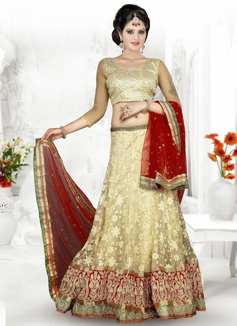 Beige And Red Resham Work Net Lehenga Choli