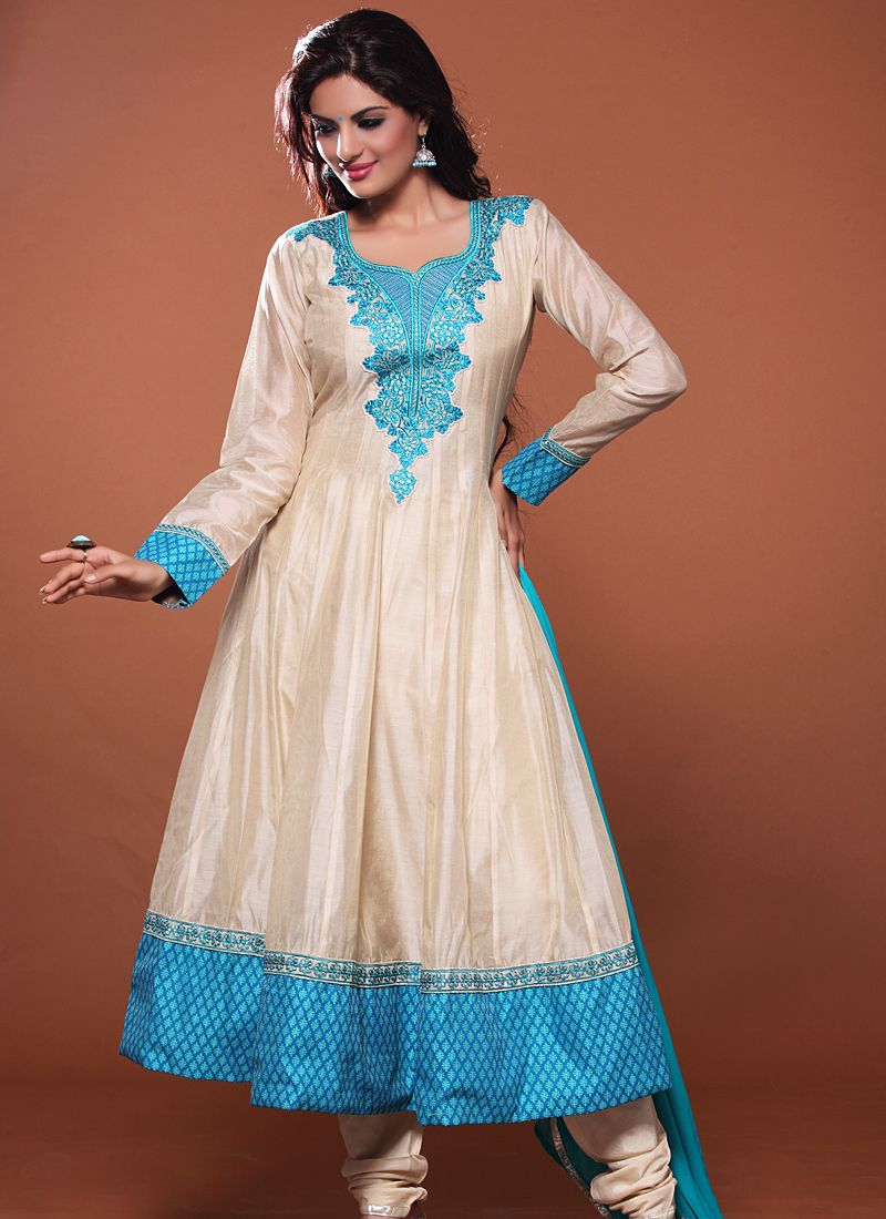 Cream Resham Work Net Anarkali Suit