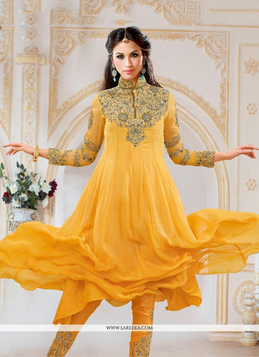 Embroidered Work Yellow Anarkali Salwar Kameez