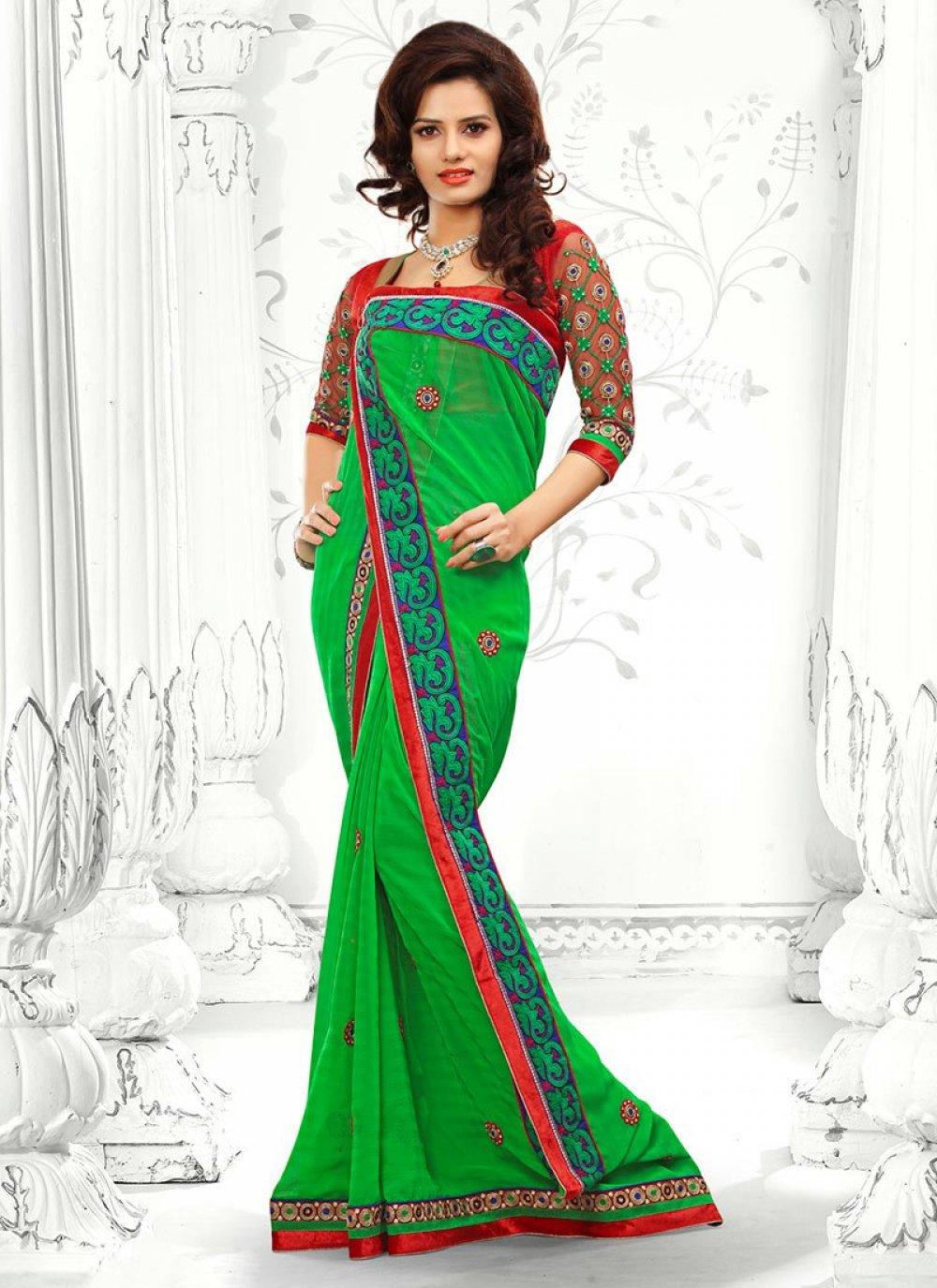 Green Georgette Designer Saree