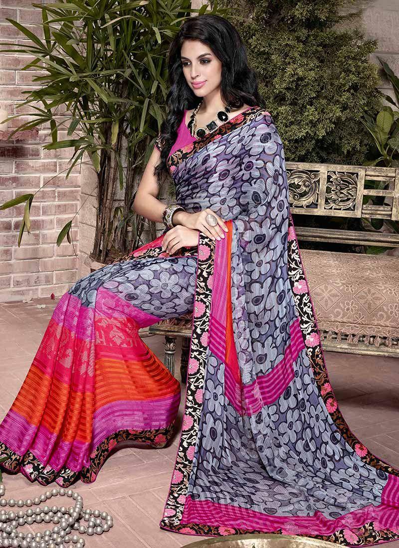 Multicolor Printed Satin Saree