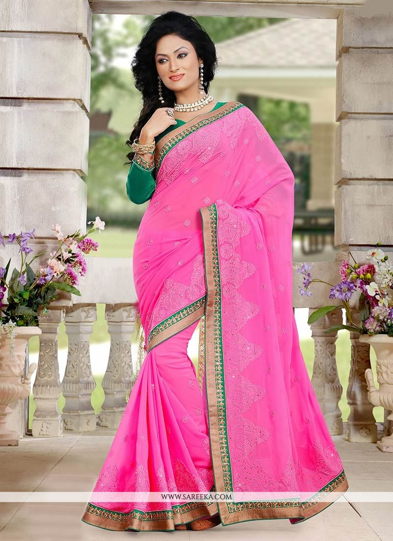 Pink Shaded Georgette Saree