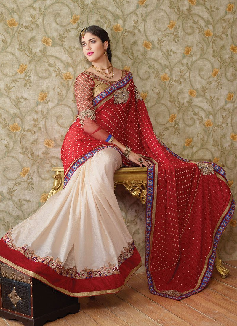 Red And White Embroidery Work Wedding Saree