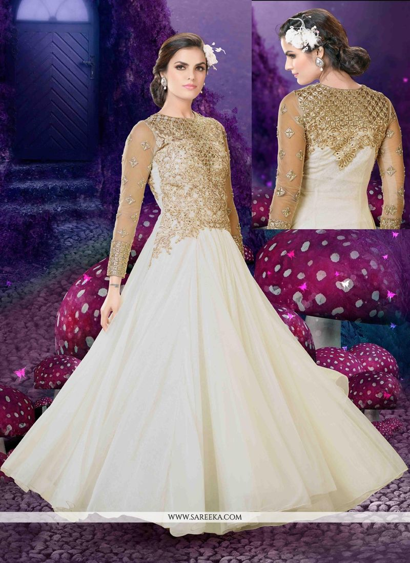 Zari Work Off White Anarkali Salwar Kameez