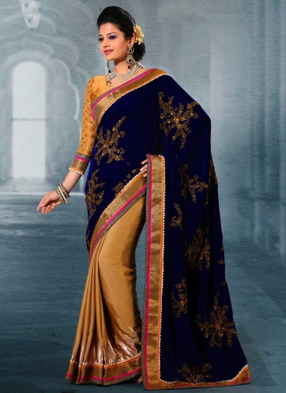 Gold And Blue Embroidery Velvet Half And Half Saree