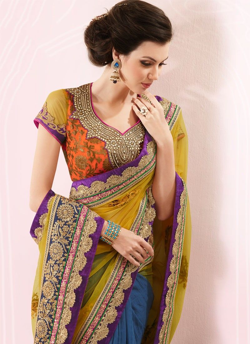 Gold And Navy Blue Half And Half Saree