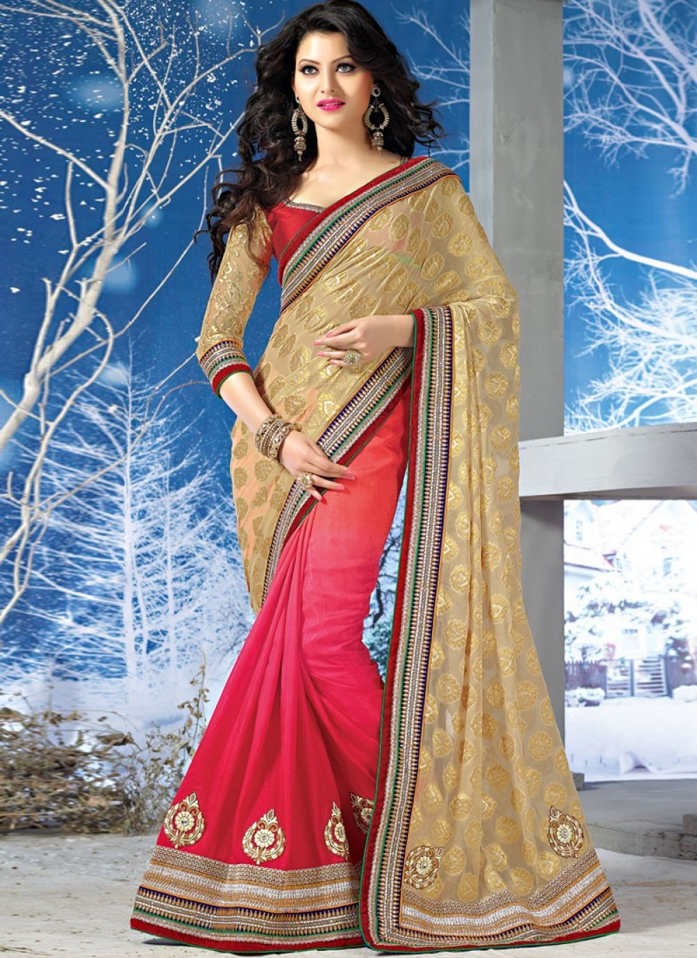 Golden And Red Patch Border Work Jacquard Saree