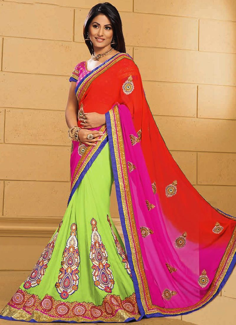 Gorgeous Akshara Green And Orange Half And Half Saree