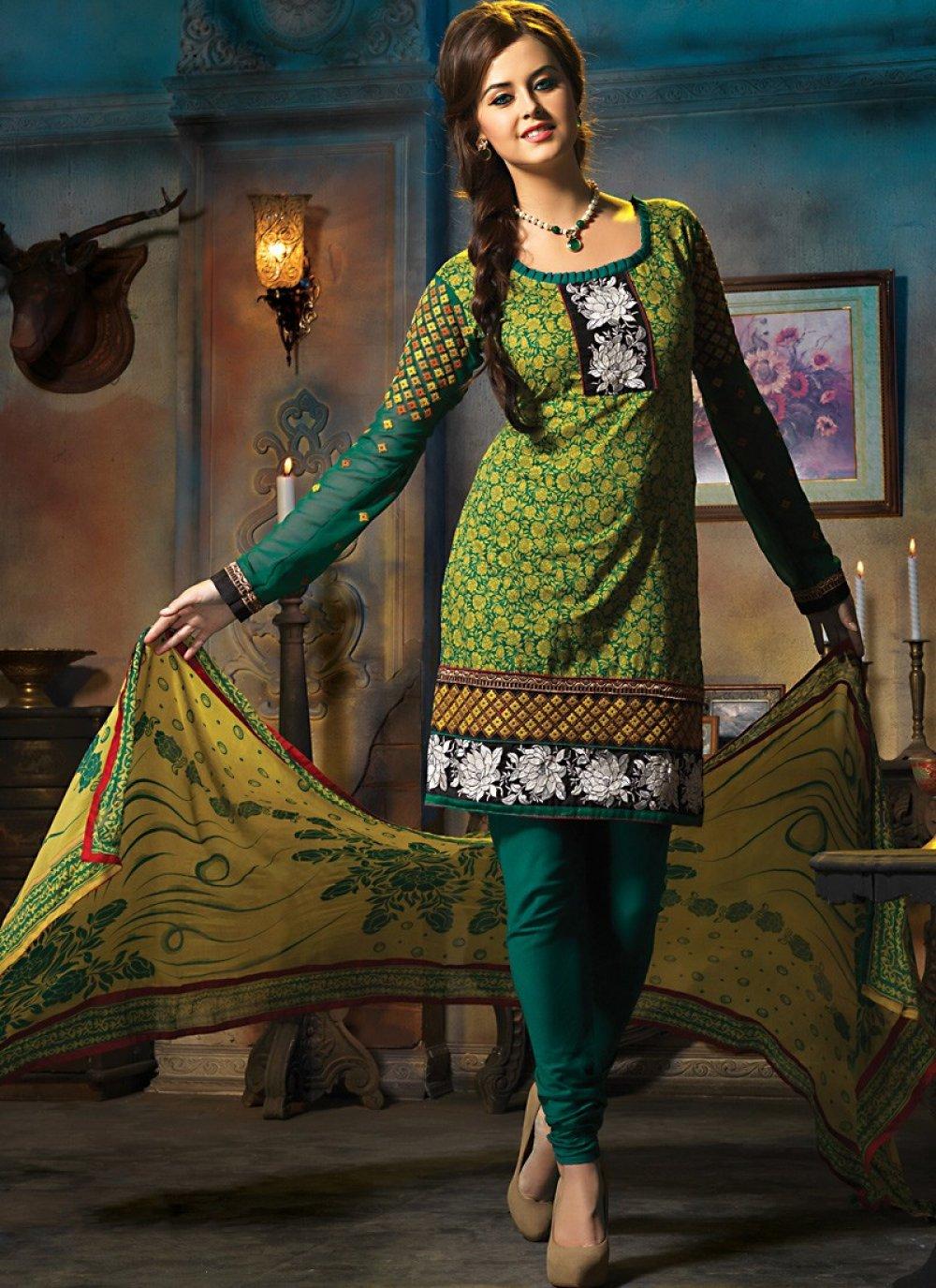 Gorgeous Aloe Vera Green & Geenish Blue Salwar Kameez