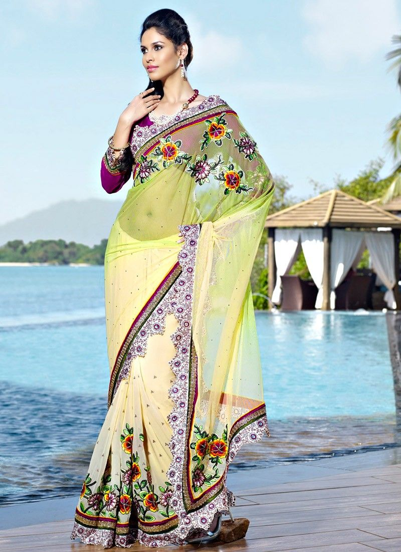 Gorgeous Aloe Vera Green & Gold Color Embroidered Saree