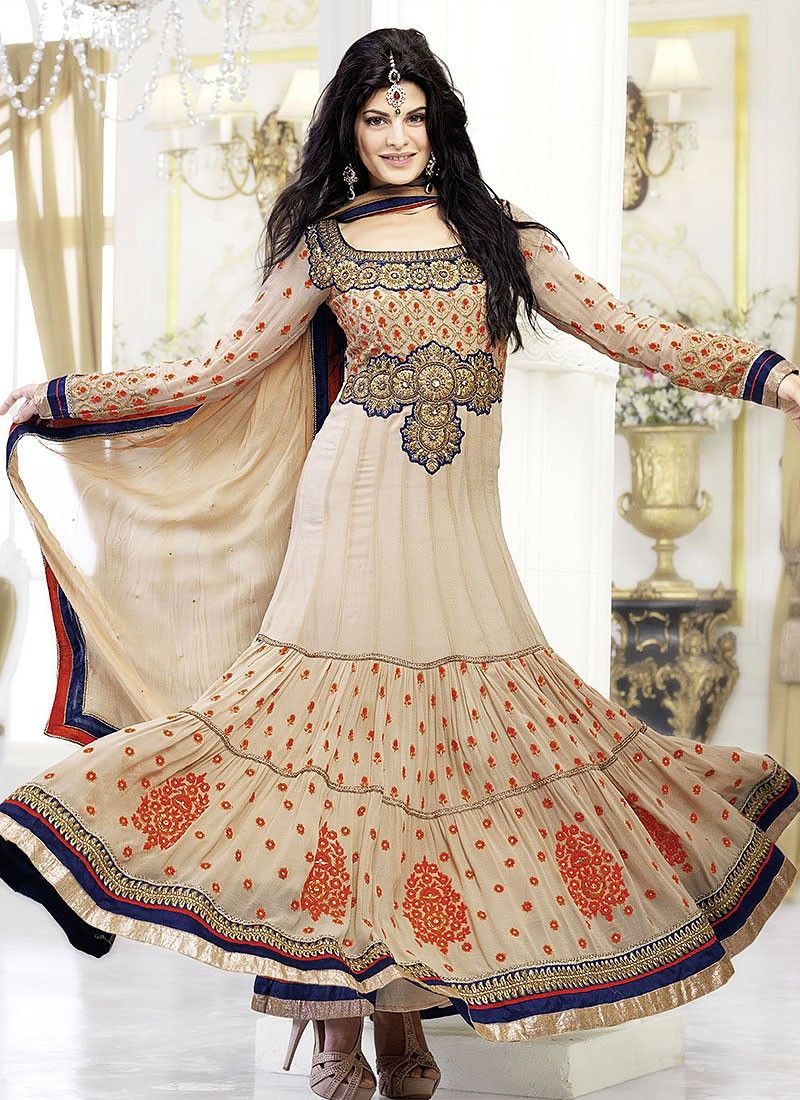 Gorgeous Beige Embroidery Jacqueline Anarkali Suit