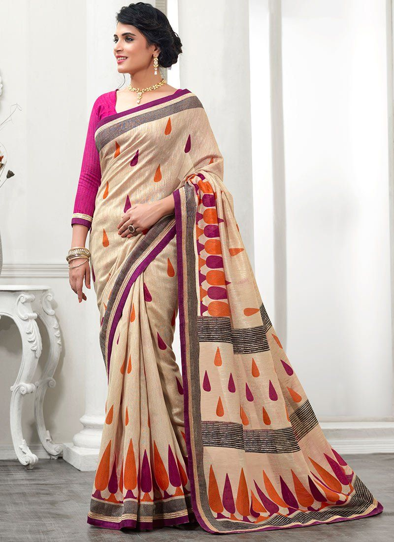 Gorgeous Beige Patch Border Work Silk Saree