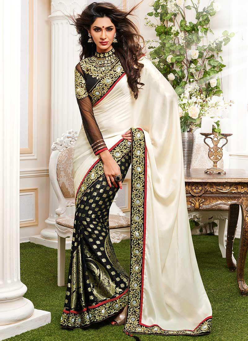 Gorgeous Black And Cream Half And Half Saree