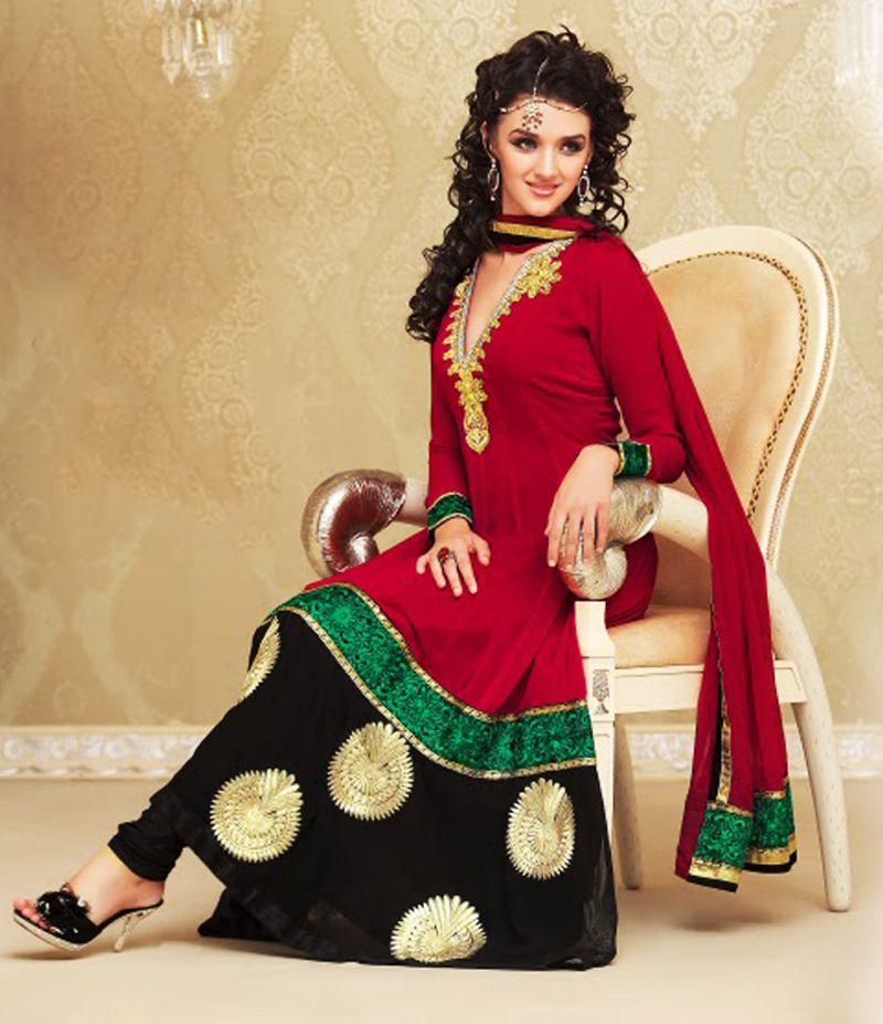 Gorgeous Black & Fuchsia Anarkali Suit