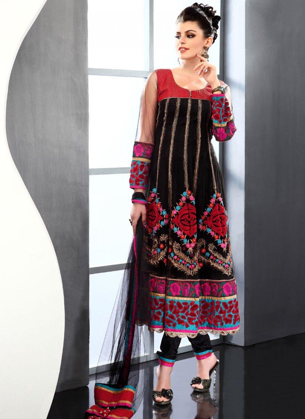 Gorgeous Black Net Churidar Suit