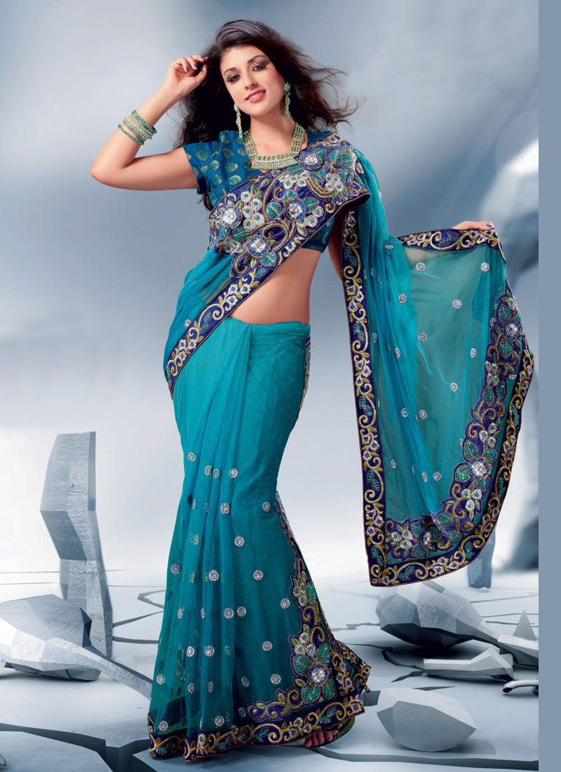 Gorgeous Blue Color Designer Sari