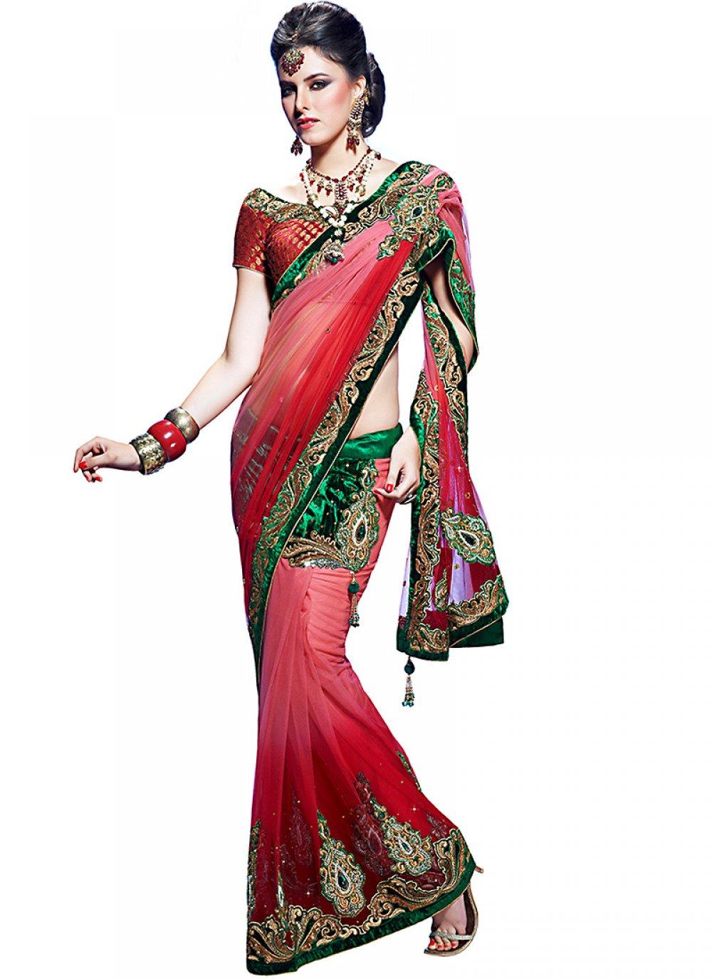 Gorgeous Bottle Green & Deep Pink Embroidered Saree