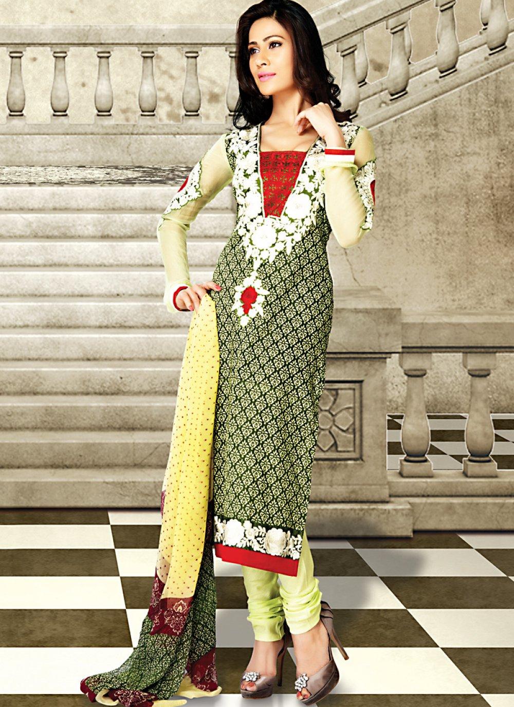 Gorgeous Bottle Green & Gold Color Salwar Kameez