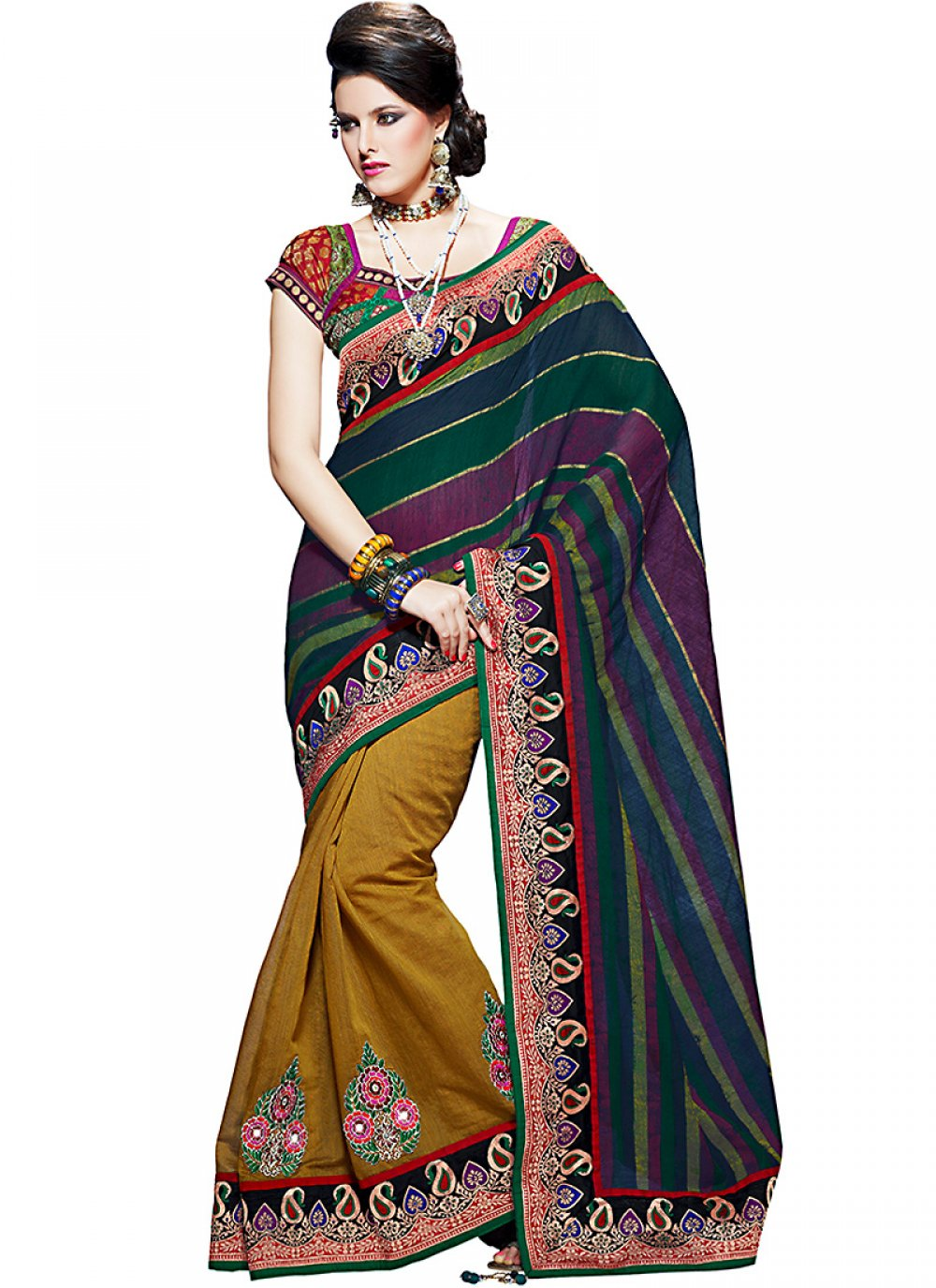 Gorgeous Bottle Green, Navy Blue & Orange Embroidered Saree