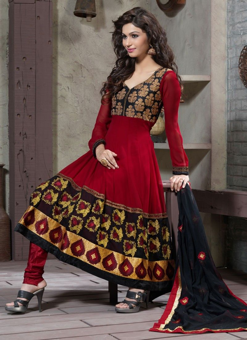 Gorgeous Brick Red & Black Anarkali Suit