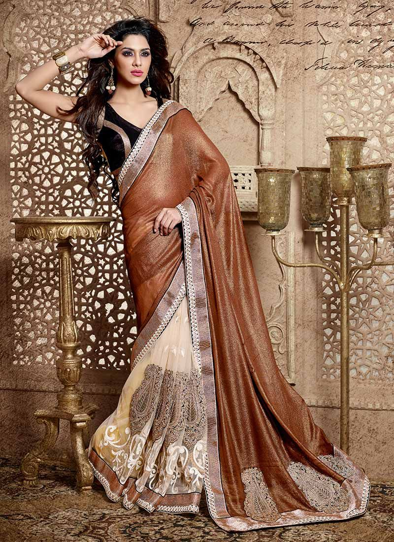 Gorgeous Brown Georgette And Net Saree