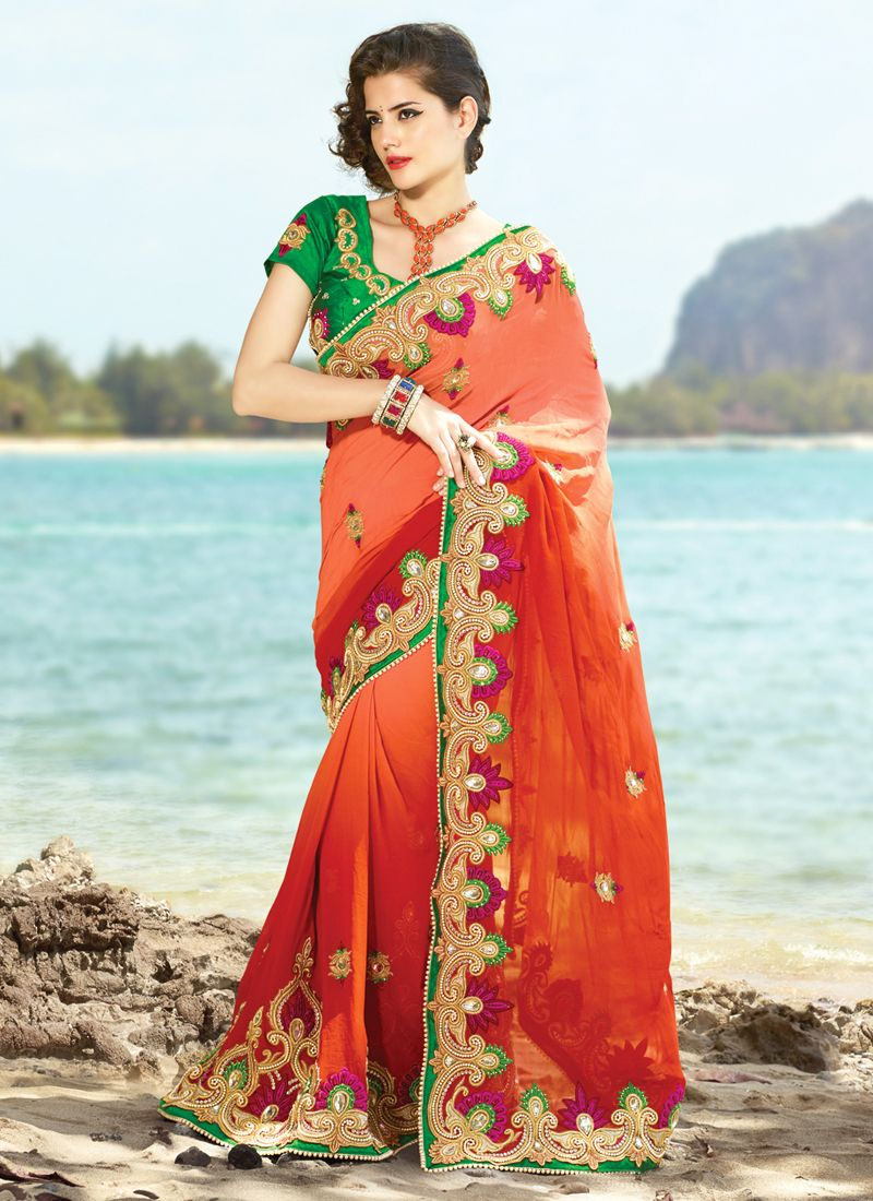 Gorgeous Coral Embroidered Saree
