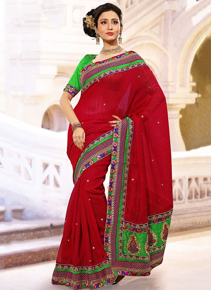 Gorgeous Crimson And Green Silk Casual Saree
