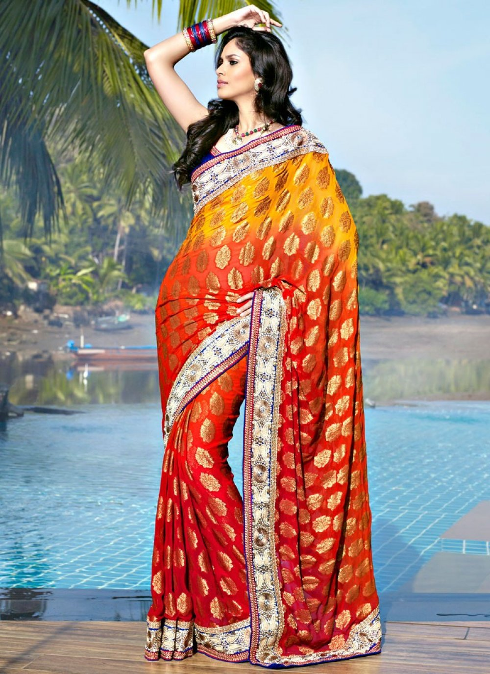 Gorgeous Crimson & Gold Color Embroidered Saree