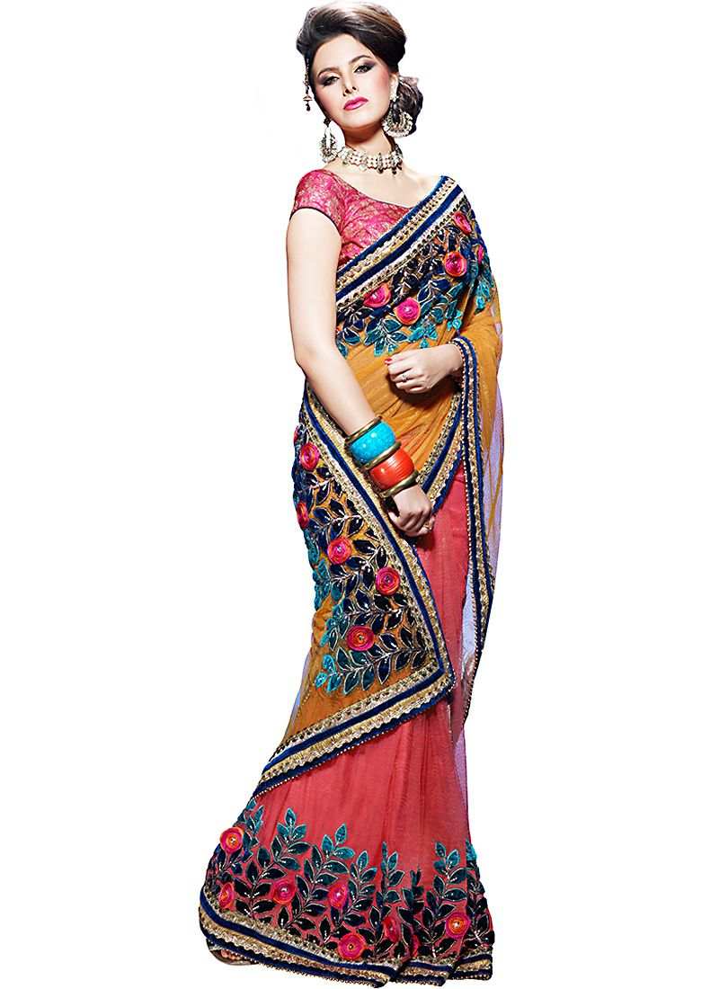 Gorgeous Deep Apricot & Deep Salmon Embroidered Saree