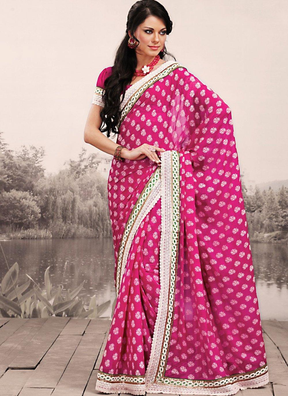 Gorgeous Deep Pink Embroidered Saree