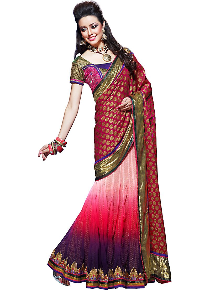 Gorgeous Fuchsia & Navy Blue Embroidered Saree
