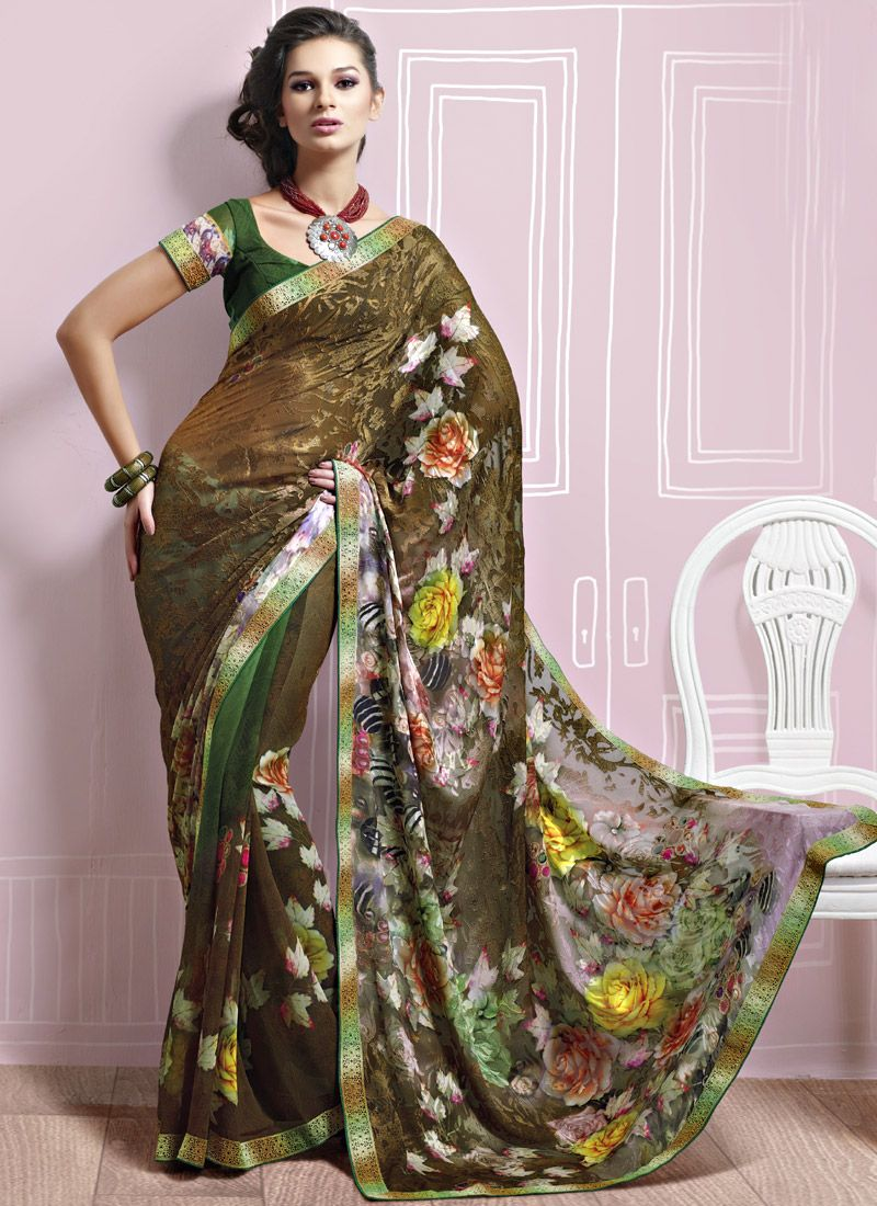 Gorgeous Green Brasso Saree