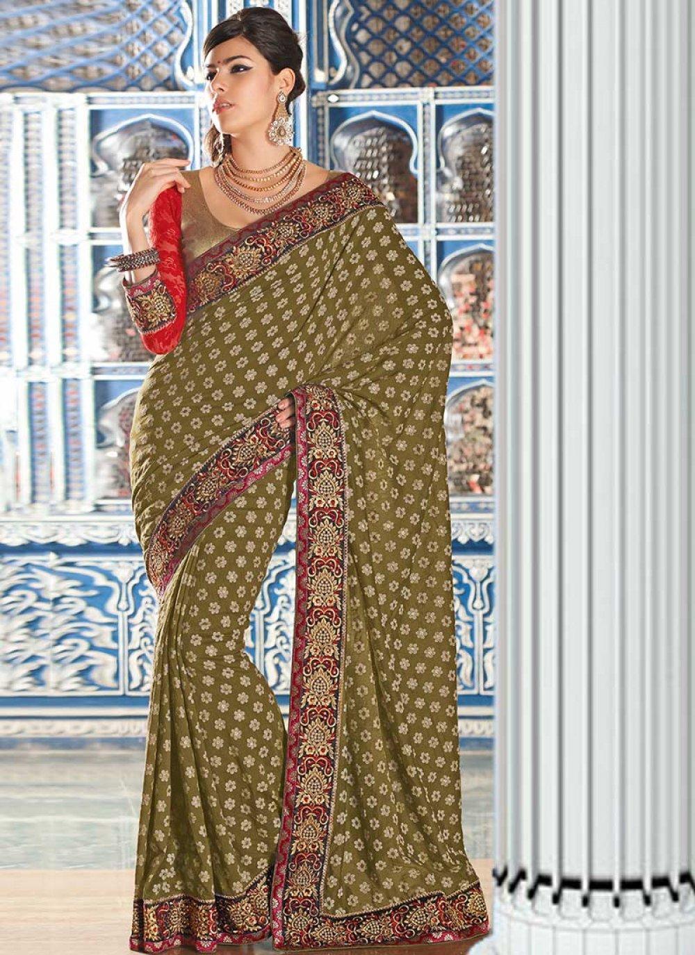 Gorgeous Green Cotton Jacquard Wedding Saree