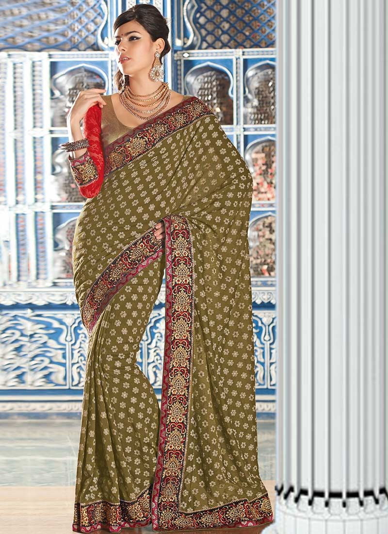 Gorgeous Green Cotton Jacquard Wedding Saree