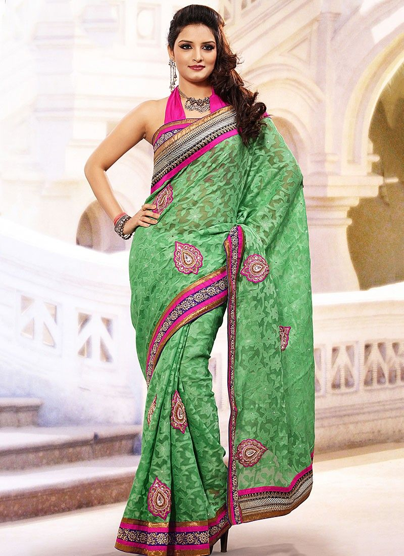 Gorgeous Green Net Jacquard Saree
