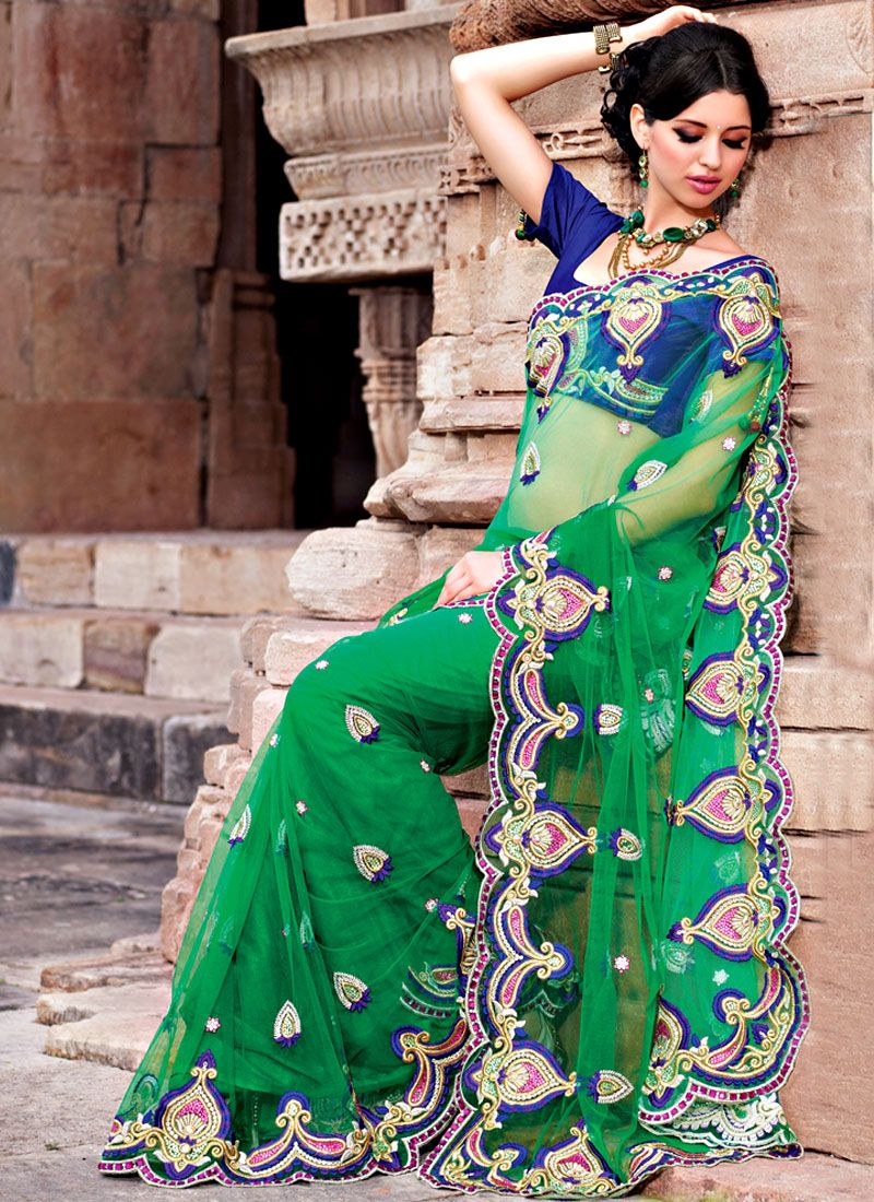 Gorgeous Green Net Saree