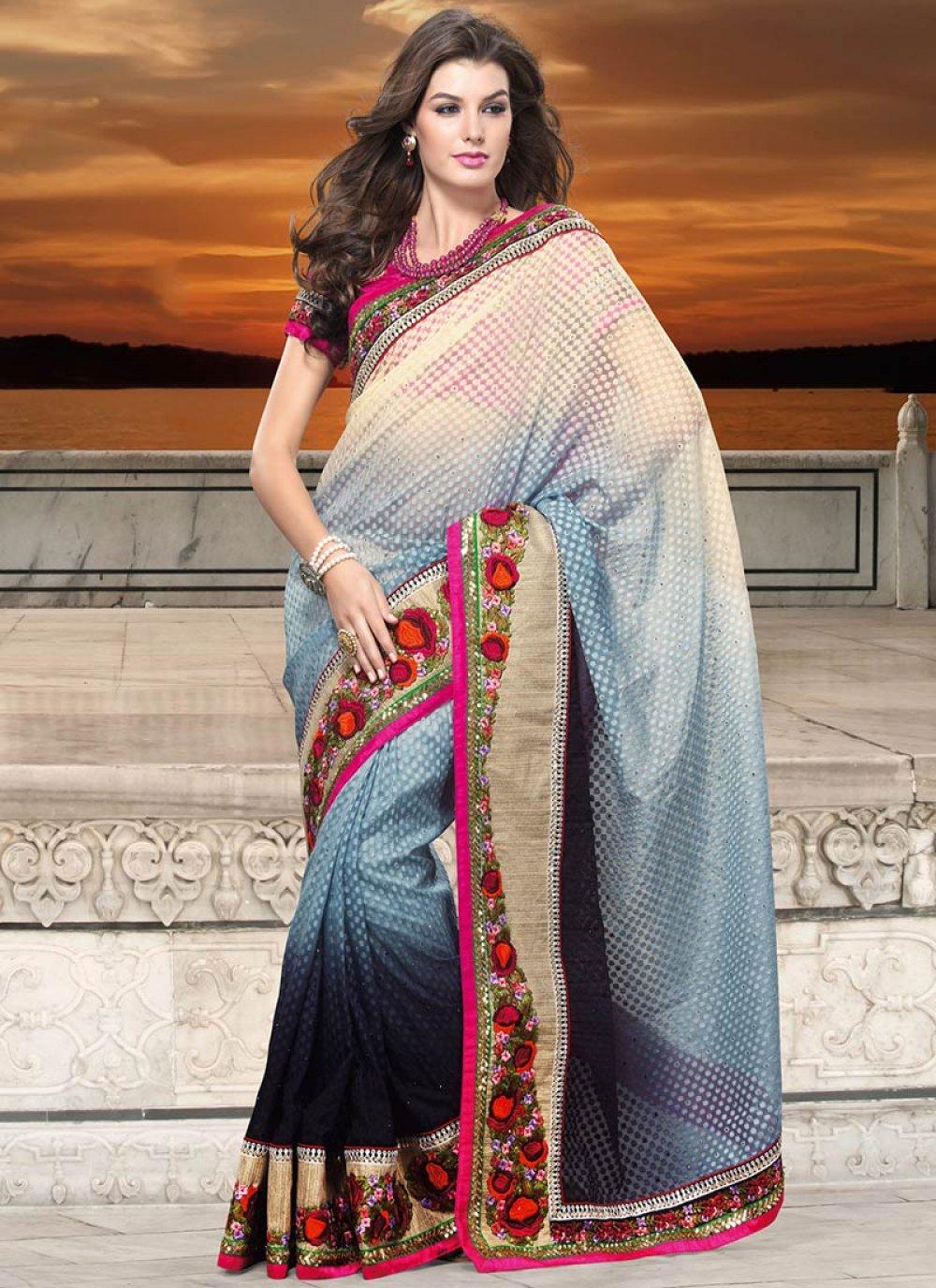 Gorgeous Grey And Beige Art Silk Saree