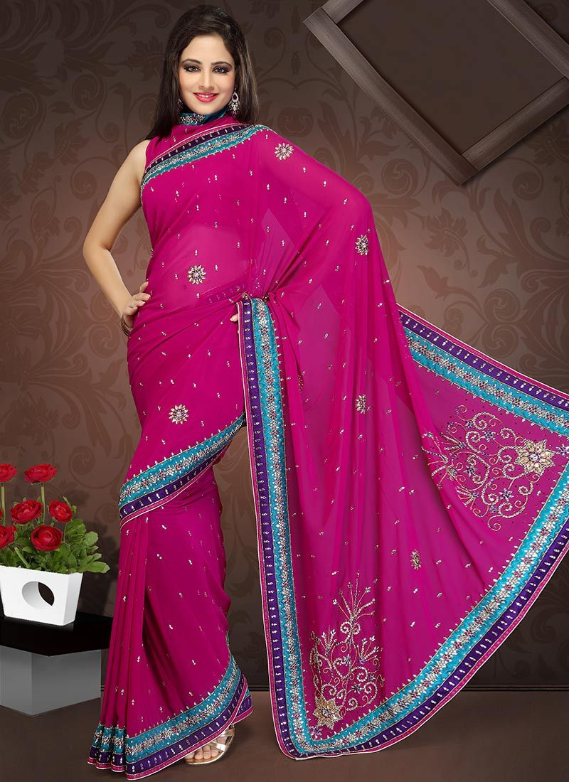 Gorgeous Magenta Faux Georgette Saree